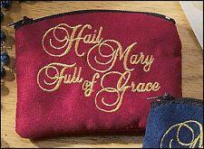 Hail Mary Red Cloth Rosary Case NEW SKU JT020
