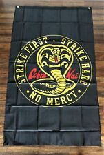 New Cobra Kai Banner Flag Karate Kid Movie Film Strike First Hard No Mercy Black