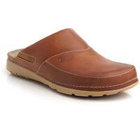 Batz PETER Brown Mens Leather Slip On Mules Clogs Sandals Shoes Size 7.5-11 UK
