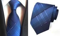 Blue Tie and Black White Patterned Handmade 100% Silk Wedding Formal Necktie