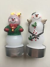"""Lot of 2 White Barn Candle votive Snowman Candles 3.5"""" New"""