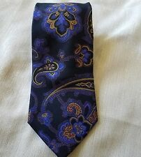 Etro 100% Silk Made  in Italy Blue Gold Paisley Men's  Tie