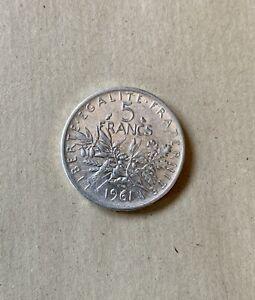 Monnaie France : 5 francs Semeuse Argent 1961 / 5F cinq fr 2
