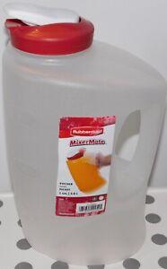 Rubbermaid Pitcher Mixermate 1 Gallon 1 L Plastic Flip Top Sheer Red Lid  7E60