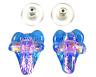 DICHROIC Post EARRINGS HEART & Cross Moonstone Blue Aqua Pink Copper GLASS STUDS