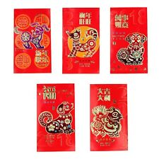 6 Pcs of Big Colorful Chinese Money Red Envelopes for Year of Dog