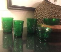 Lot of 5 Anchor Hocking Green Sandwich Glass Pieces Tumbler Juice Custard Bowl