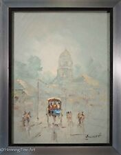 Stunning French Oil Painting of Raining Parisian Street Scene, Illegibly Signed!