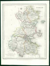 1845 IRELAND - Original Antique Map of DUBLIN by Lewis with outline colour