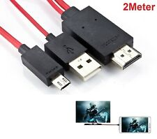 New Android MHL Micro USB To HDMI Cable 1080p HDTV Lead 2 Meters HTC Sony LG UK
