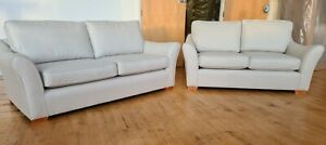 Laura Ashley Ferndale 2 Piece Sofa Suite In Marlow Pale Natural RRP £2499