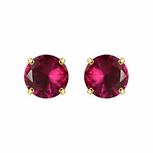 1.00 Ct Round Ruby Solitaire 4 Prong Stud Earrings Women's 14k Yellow Gold FN