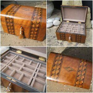 ANTIQUE JEWELLERY BOX - 19c INLAID WALNUT - DATED 1898 WONDERFUL INTERIOR