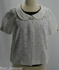 Ann Taylor Loft Cotton Eyelet Blazer Jacket WHITE lined light coat NWT $79.00 8P