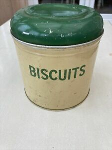 Vintage Cream & Green Biscuit Tin Shabby Chic Kitchenalia 1940s 1950s