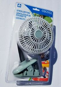 O2COOL 4-Inch Portable Stroller/Desk Clip Fan battery operated White/Green NEW