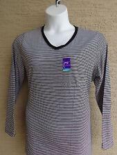 NewJust My Size   2X Cotton Blend 50/50  L/S V Neck Black/Gray Striped Tee Top