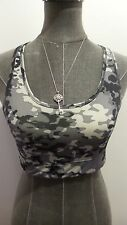 *C9 Champion* Wmn's L Gray/Blk Camo Lined Wire Free Poly Racerback Sports bra
