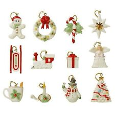 Lenox Winter Delights Miniature Tree Ornaments 12 Set Angel Train Christmas NEW