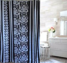 CLEARANCE Black Damask Stripes Circles Fabric Shower Curtain 2mH FREE SHIPPING