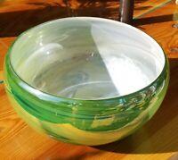 Hand Blown Glass Bowl Studio Piece 9x5.5 Inches