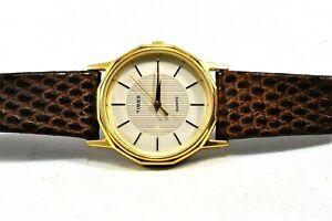 Vintage Timex Gold Tone Men Slim Quartz W Cell Watch New Battery Leather Strap