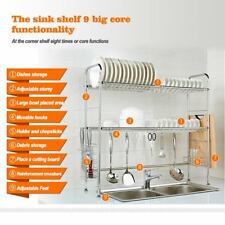Cutlery Holder Tidy Stacking Shelf   2-Tier Double Slot Stainless Steel Kitchen
