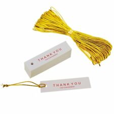 Thank You Tags with Golden String Thread for Gift Shop Wrapping Packaging x48