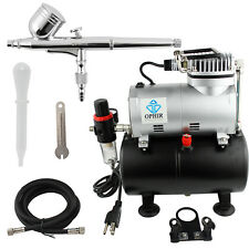 OPHIR Double-action Airbrush with Air Compressor(Air Tank) for Cake Decoration