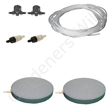 "6"" 15cm AIR STONE KIT 2x DIFFUSER +VALVES +NON RETURN +10m PIPE hydroponic pond"