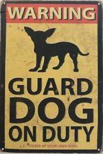 WARNING GUARD DOG ON DUTY CHIHUAHUA SILHOUETTE  TIN RETRO  RUSTIC METAL  SIGN