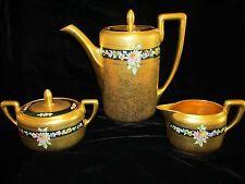 3pc Antiq Rosenthal Pickard COFFEE SET All Gold Hand Ptd Peonies PotCreamSugar
