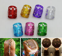 50 Mixed Color Hair Braid Ring Cuff Clips Dreadlock Beads For DIY Hair Extension