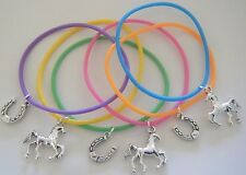 x6 HORSE PONY RIDING THEME GUMMY BANDS CHARM BRACELETS PARTY BAG FILLERS GIFTS