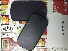 Black2 Leather Finish MadeWith Rubber Flip Case For Samsung Galaxy S3 mini i8190