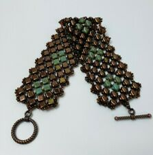 "Handmade Woven Flat Glass Seed Beaded Cuff Bracelet - 8"" Brown & Green & Copper"