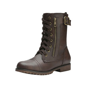 DREAM PAIRS Women's Winter  Lace Up Military Combat Mid Calf Boots Shoes Size US