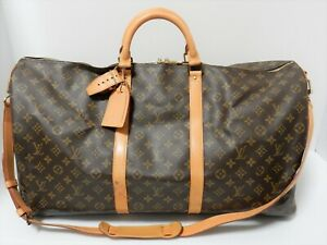 Auth Louis Vuitton Monogram Keepall 60 Strap Bandouliere Bag VI0930 Browns