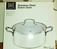 SALT Stainless Steel Dutch Oven Stock Pot Glass Lid Kitchen 7.5 Quart. NEW NIB
