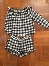 SEED TEEN Girls Black Checked Top & Shorts Set, BNWT, Size 16 Suit 12,14 RRP $90
