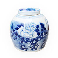 "Beautiful Blue and White Porcelain Ginger Jar Floral Peony Motif 9"" with Lid"