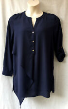 Capture Size 12-14 Tunic Top Blouse Shirt NEW Navy Work Smart Casual Evening