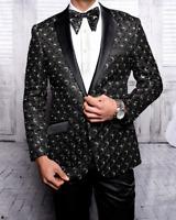 Mens Insomnia Manzini Blazer Stage Singer Prom MZE167 Black Gold Sequin Satin