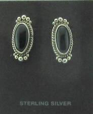 Vintage Native American Navajo Earromgs Onyx Sterling Silver - Signed