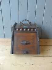Antique Hardwood Coal Scuttle Bucket Fire Fireplace Hearth 308