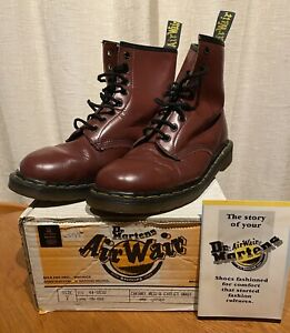 Original 90s DR Martens 8- Eyelet Air Wair Cherry Red Size Uk7