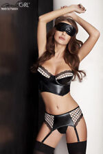 Completo intimo donna pvc REGGICALZE mascherina sexy LINGERIE SET tg.  XXL XXXL 12b6b2cbf39