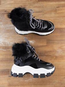 $1525 PRADA black fur trimmed leather rubber boots sneakers 10 US / 7 UK / 41 EU