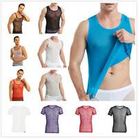 Mens Sexy Mesh T-shirt See Through Fishnet Gym Training Tank Top Vest Underwear
