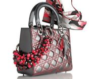 Limited Edition LADY DIOR Medium Anselm Reyle Metallic Grey Fuchsia Bag (Rare)